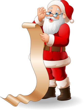 illustration of Santa Claus reading a long list of gifts
