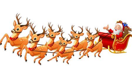illustration of Santa Claus rides reindeer sleigh on Christmas