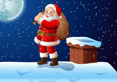 illustration of Cartoon Santa claus standing on the roof top carrying a big bag Vettoriali