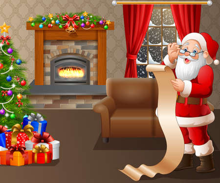 illustration of Santa Claus reading a long list of gifts in the living room