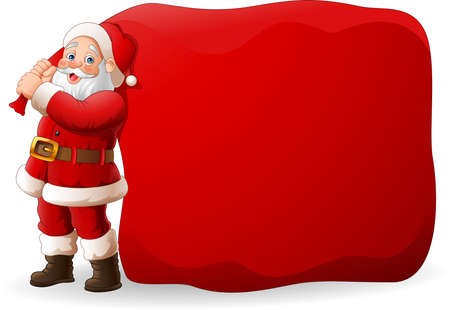 illustration of Cartoon Santa Clause pulling a huge bag