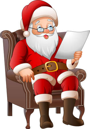 illustration of Cartoon Santa Claus sitting at his armchair and reading a letter