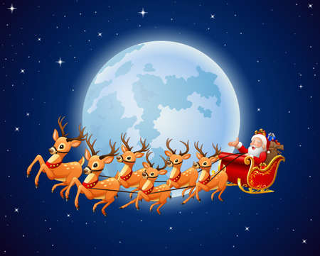 santas sack: illustration of Santa Claus rides reindeer sleigh against a full moon background