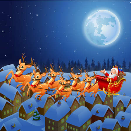 illustration of Santa Claus riding his reindeer sleigh flying in the sky