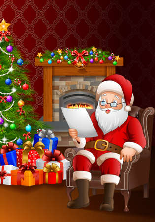 house of santa clause: illustration of Santa Claus reading a list of gifts in the living room