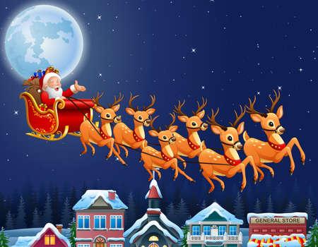 illustratie van de kerstman die zijn rendier slee rijdt over de stad