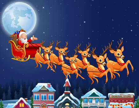 illustration of Santa Claus riding his reindeer sleigh flying over town