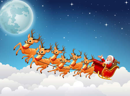 illustration of Santa Claus rides reindeer sleigh flying in the sky