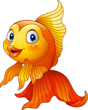 isolation: illustration of Cartoon cute goldfish