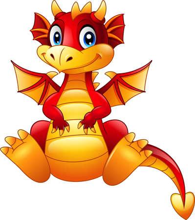 illustration of Cartoon red dragon sitting isolated on white background Illustration