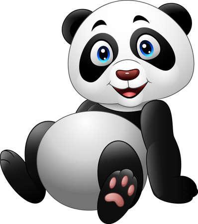 one panda: illustration of Cartoon funny panda sitting isolated on white background