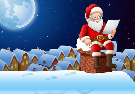illustration of Cartoon Santa Claus sitting at chimney and reading a letter