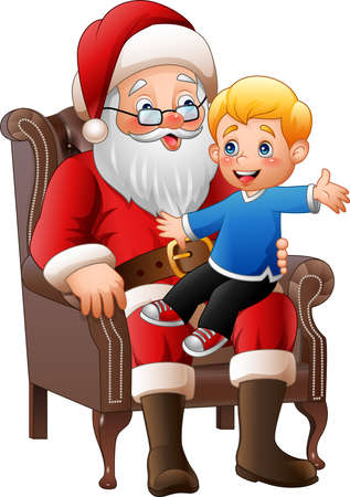 illustration of Santa Claus sitting with a little cute boy Illustration