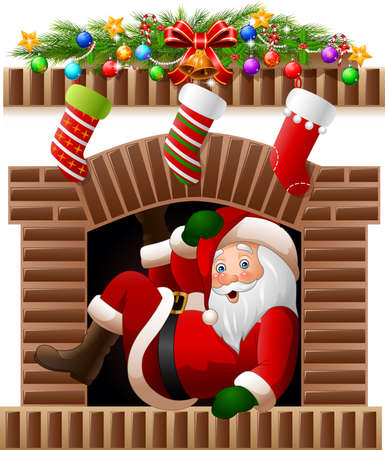 illustration of Santa Claus in the fireplace Illustration