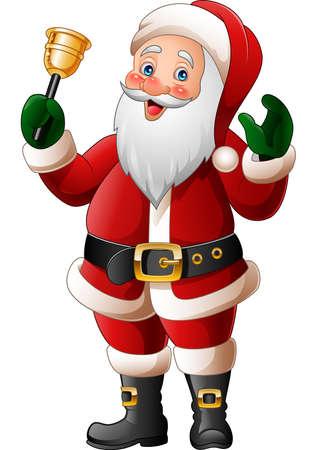 illustration of Cartoon Santa Claus ringing bell