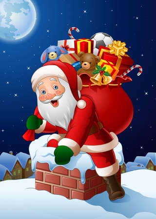 illustration of Christmas background with Santa Claus enters a home through the Chimney