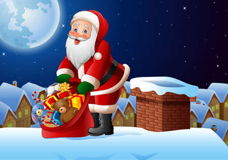 illustration of Christmas background with Santa Claus holding bag of presents on the roof top