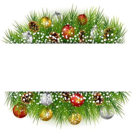 illustration of Christmas background with pine cone, ball and fir in snow Illustration