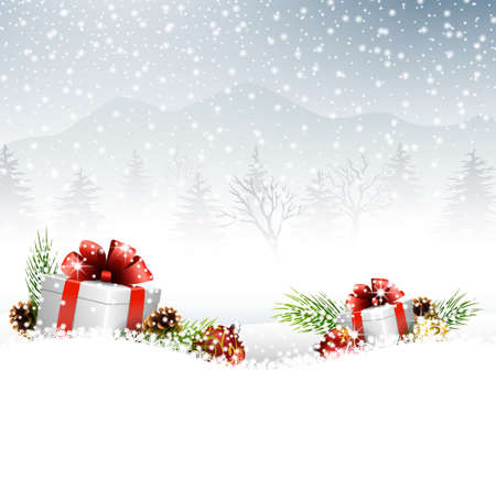 snow cone: illustration of Christmas balls with gift, fir and pine cone on the snow