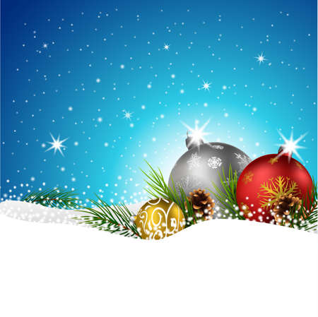 snow cone: illustration of Christmas balls with fir and pine cone on the snow