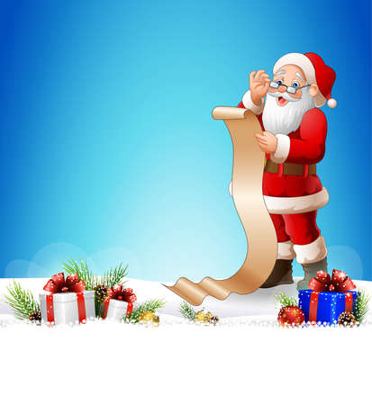illustration of Christmas background with Santa Claus reading a long list of gifts Illustration