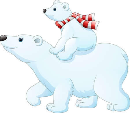 illustration of Cartoon baby polar bear riding on her mother's back Ilustracja
