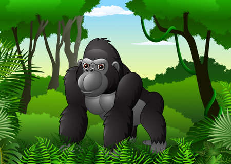 illustration of Cartoon gorilla in the thick rain forest