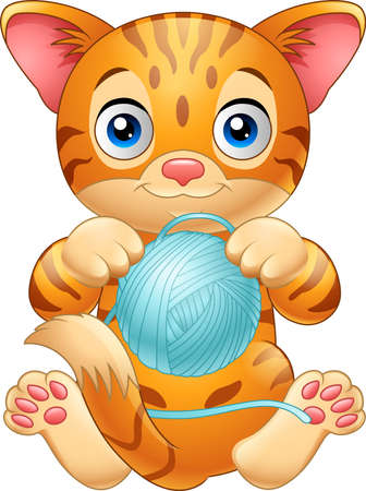 illustration of Cartoon baby cat playing with ball of blue yarn