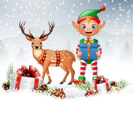 illustration of Christmas background with elf and deer