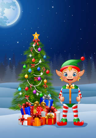 illustration of Christmas background with elf holding gift box