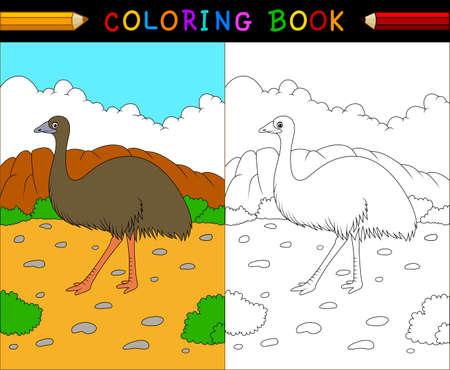 australian animals: illustration of Cartoon emu coloring book, Australian animals series