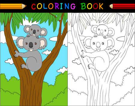 塗り絵、オーストラリアの動物シリーズ漫画コアラのイラスト