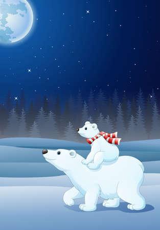illustration of Cartoon baby polar bear riding on her mother's back