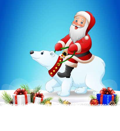 illustrazione di sfondo Natale con Babbo Natale in sella a un orso polare