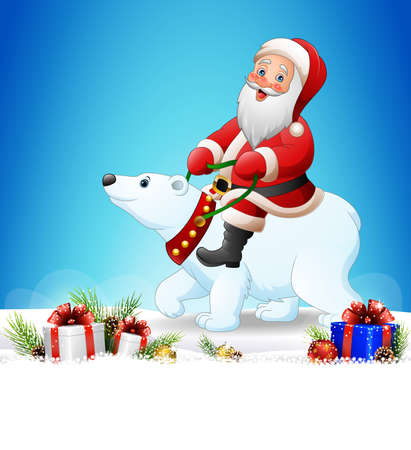 illustration of Christmas background with Santa Claus riding polar bear Illustration