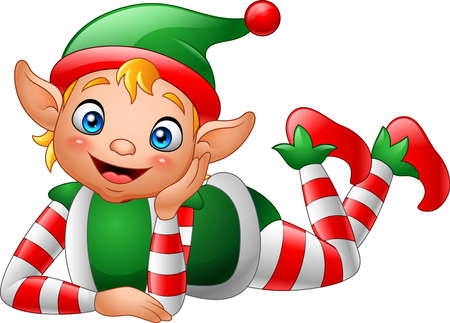 illustration of Cartoon elf lying on the floor Ilustracja