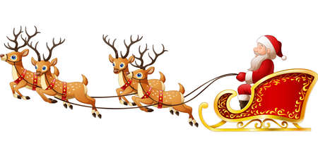 illustration of Santa Claus rides reindeer sleigh on Christmas