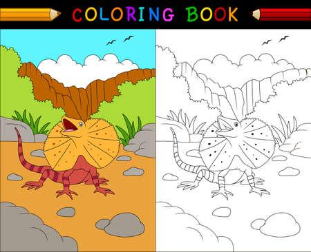 australian animals: illustration of Cartoon frilled lizard coloring book, Australian animals series Illustration