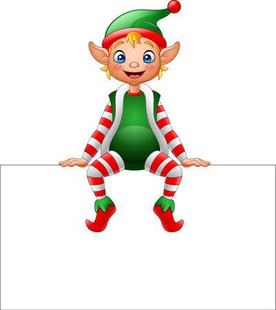 Ilustração de duende de Natal dos desenhos animados, sentado no sinal em branco Foto de archivo - 68321210