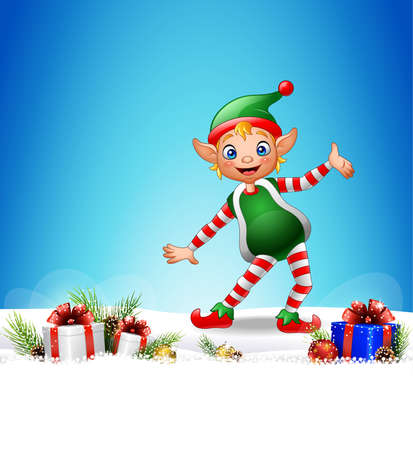 illustration of Christmas background with happy elf Illustration