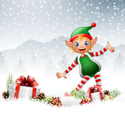 midget: illustration of Christmas background with happy elf Illustration