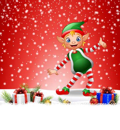illustration of Christmas background with happy elf Illustration