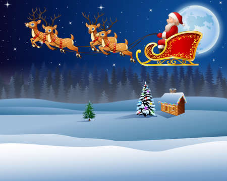 illustration of Christmas background with Santa Clause riding his reindeer sleight