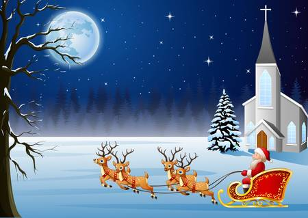 illustration of Santa Claus rides reindeer sleigh in front of church in Christmas night