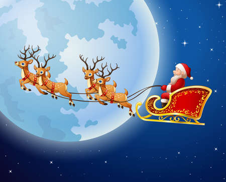 illustration of Santa Claus rides reindeer sleigh against a full moon background