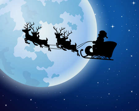 illustration of Santa Claus rides reindeer sleigh silhouette against a full moon background Illustration