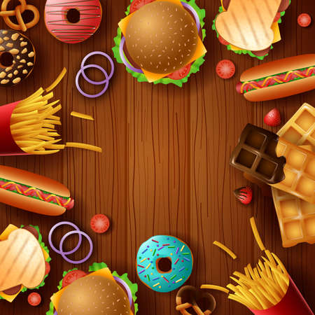Background frame with fast food and dessert