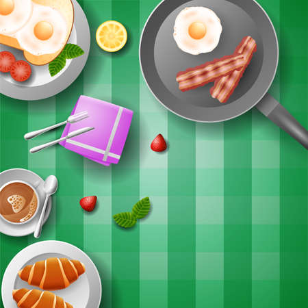 Breakfast table with many goodies in flat design style