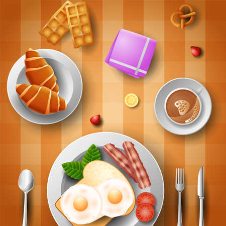 Breakfast with eggs, bacon, bread, croissant and a cup of coffee Illustration