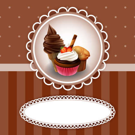 Vector illustration of Vintage background with cupcake